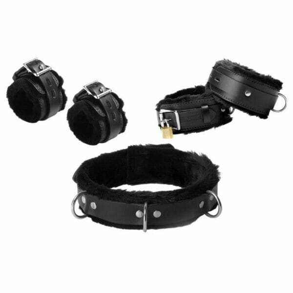 Buy Fur Lined Leather Bondage Set online | Buy bondage restraints fur lined leather