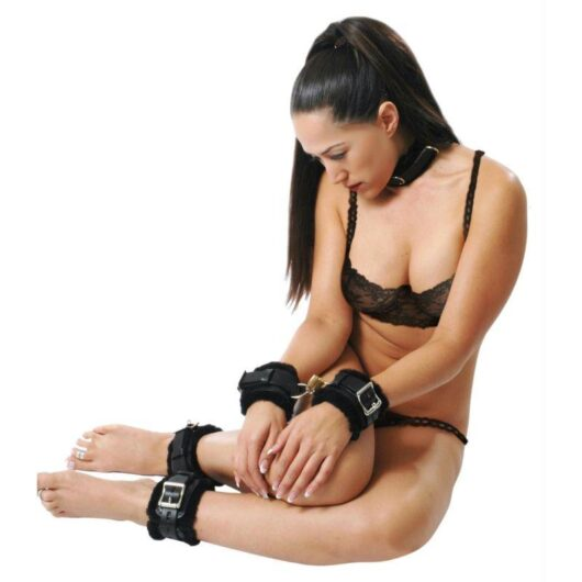 Fur Lined Cuffs and Collar Leather Bondage Set